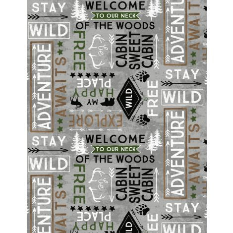 Wilmington Prints - Flannel - Cabin Welcome - Word Toss Gray