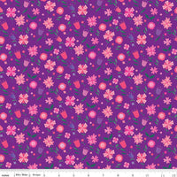 Riley Blake Fabrics - Uni The Unicorn - Flowers Purple