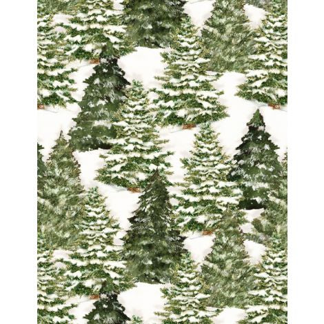 Wilmington Prints - Evergreen Farm Trees Cream