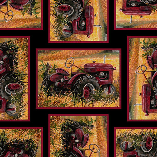 Blank Quilting - Pheasant Run - Tractors Black