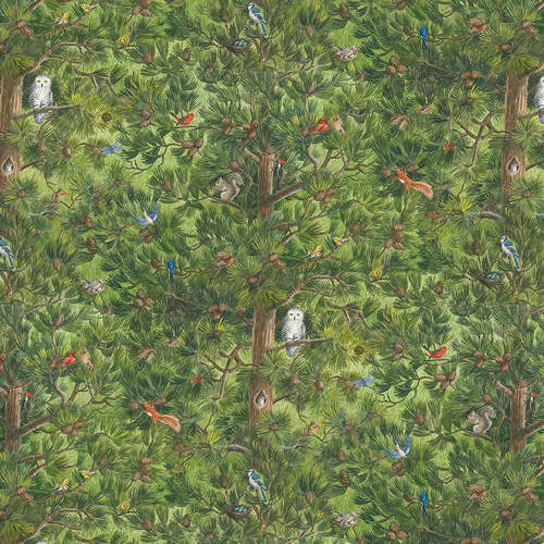 Blank Quilting - Nature Trail - Trees with Birds & Animals Digital Print Green