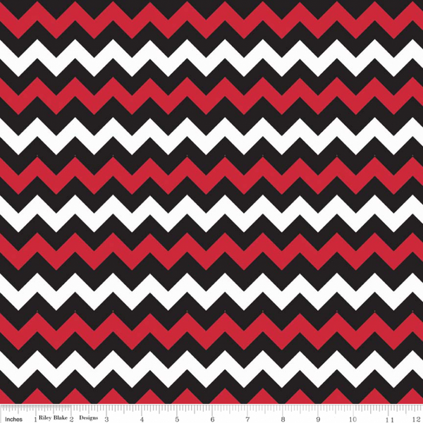 Riley Blake Fabrics - Flannel - Chevron Red/Black