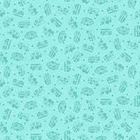 "Studio ""e"" Fabrics - Roamin' Holiday - Tone-On-Tone Campers Light Blue"