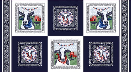 "Studio ""e"" Fabrics - Heritage USA-Grace Popp-Navy - Panel"