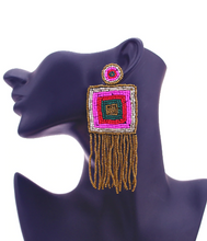 Load image into Gallery viewer, sexy earrings online square beaded fringe earrings bohemian style glam