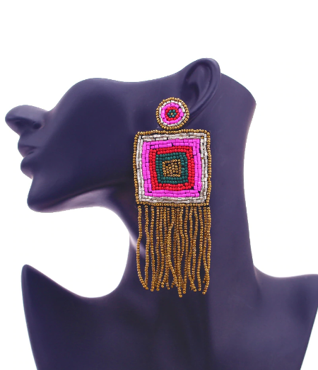 sexy earrings online square beaded fringe earrings bohemian style glam