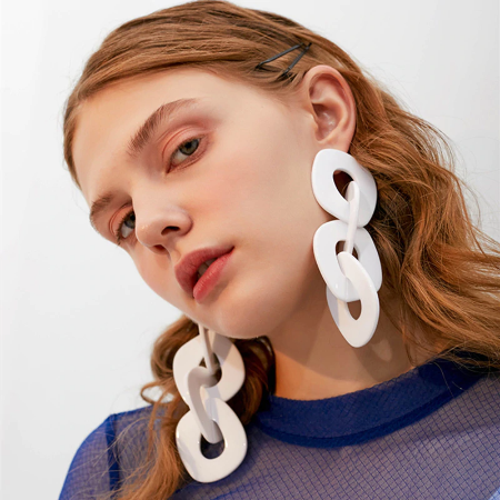 Big White Earrings