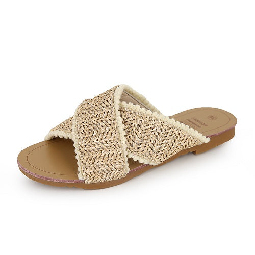 Tan Straw Elegant Beach Sandal
