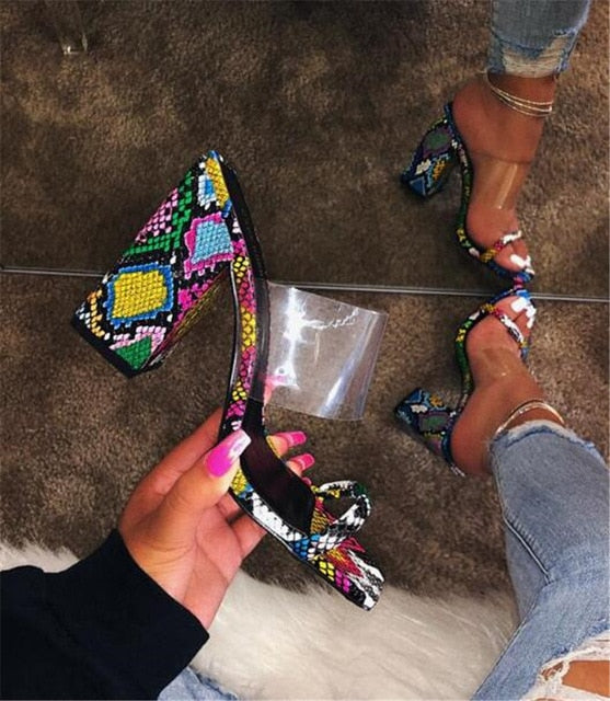 Sexy Snake Leather Sandals Newest Open Toe PVC Patchwork Chunky Heel Sandals Mixed-colors Super High Heel Sandals Evening Shoes
