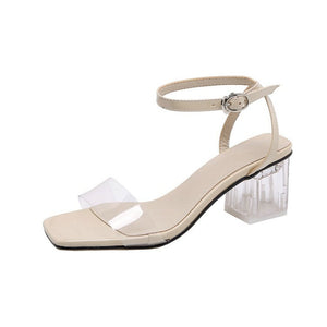 Cream and White Sandal with Thick Clear Heel