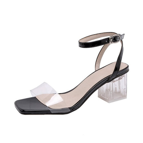 Black and White Sandal with Thick Heel