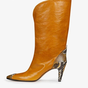 Mustard Brown Leather Look with Grey Snakeskin at Toe and Heel