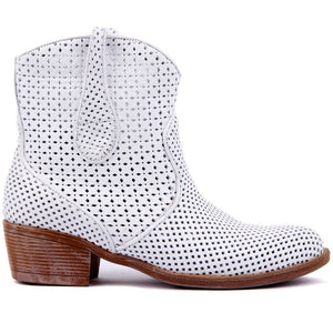 White Leather Women's Ankle Boots Spring Summer