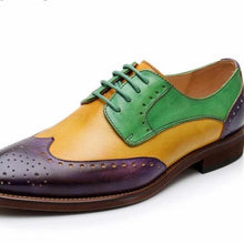 Load image into Gallery viewer, Dark Raisin, Yellow, and Emerald Green Vintage Oxford Shoes Lakers Fan