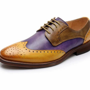 Mustard, Purple and Milk Chocolate Brown Vintage Shoes Oxford Female Shoes
