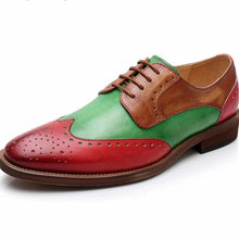 Load image into Gallery viewer, Red, Green, and Chestnut Brown Shoes Vintage Elf Christmas Africa Vibe Business Career