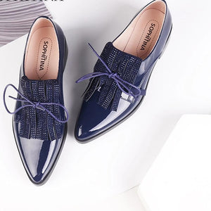 Patent Leather Look Blue Shiny Flat Closed Toe Shoe