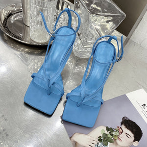 Very Stylish Blue Square Toe Strappy Sandals Heeled