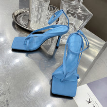 Load image into Gallery viewer, Very Stylish Blue Square Toe Strappy Sandals Heeled