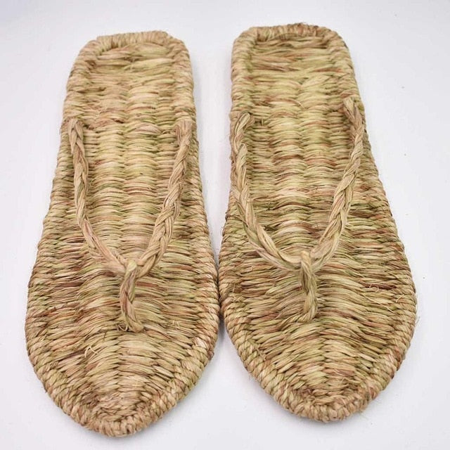 Thong Flat Sandals Cane Straw