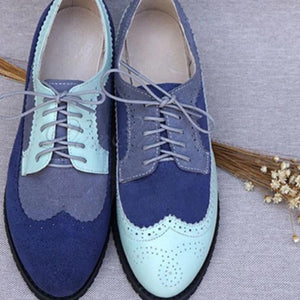 Trendy Shoes -- Vintage Blue Funky Oxford Loafers