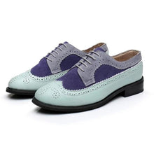 Load image into Gallery viewer, Pastel Aqua, Navy Blue, and Grey Oxford Trendy Loafer Shoes