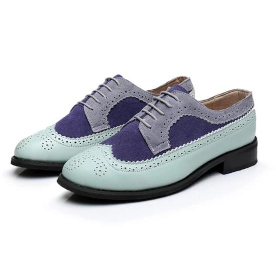Pastel Aqua, Navy Blue, and Grey Oxford Trendy Loafer Shoes