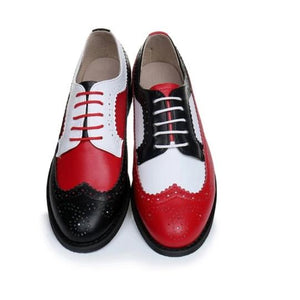 Trinidad --- Vintage Oxford Women Loafers -- Black Toe, Red Covering the Metatarsals, and White OnTop of the High Arch Bone, Including Red Laces. Women Loafers