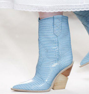 Powder Blue Leather Shoes Winter Cold Weather Boots Booties