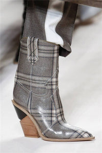 Grey Pattern Glossy Boots Fall Winter Sexy Shoes Booties