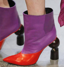 Load image into Gallery viewer, Red & Purple Ankle Booties with Wooden Heel