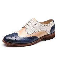 Load image into Gallery viewer, Vintage Shoe Midnight Blue, Light Peach / Beige and Off White Loafers Women