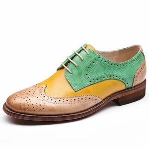 Yellow, Green, and Light Brown Leather Oxford Women Shoes