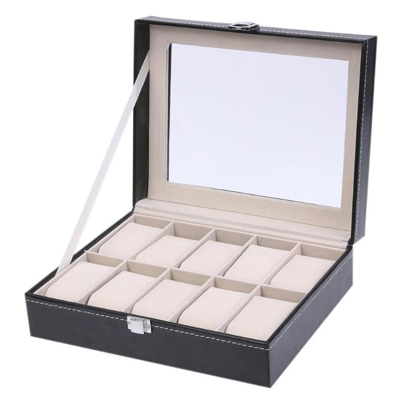 10 Grid Luxury Watch Storage Case With Display Window - 4LAUNT.COM