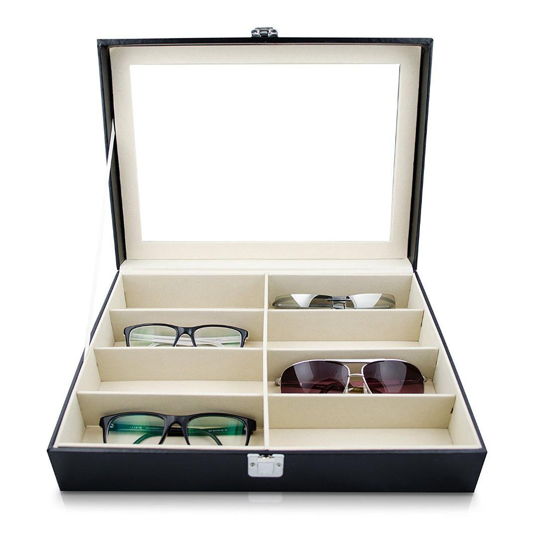 8 Slot Sunglasses Storage Box With Window Display - 4LAUNT.COM