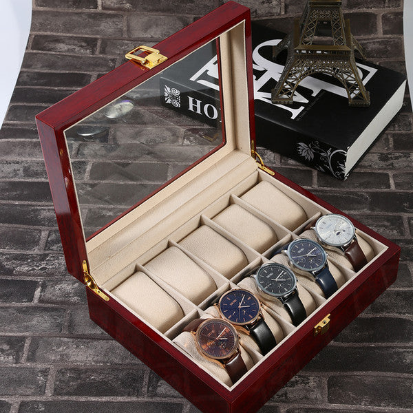 10 Grid Retro Red Wooden Watch Display Storage Case - 4LAUNT.COM