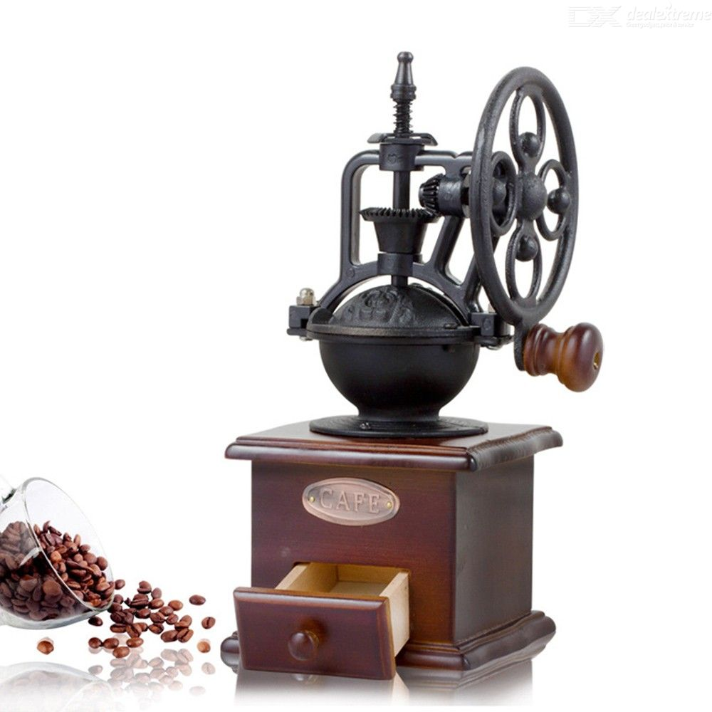 Retro Steel Wooden Coffee Bean Grinding Machine - 4LAUNT.COM