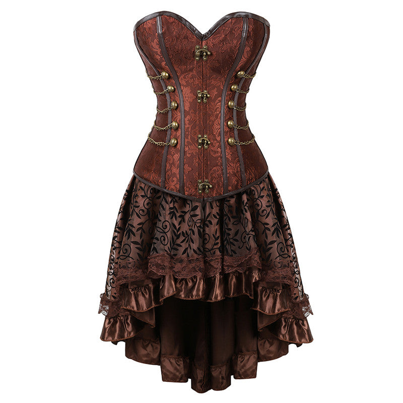 Vintage Brown Overbust Underbust Corset & Flocked Lace Skirt