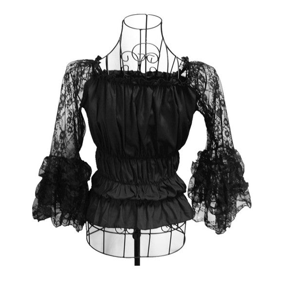 Dark Queen Slash Neck Puff Ruched Waist Victorian Blouse