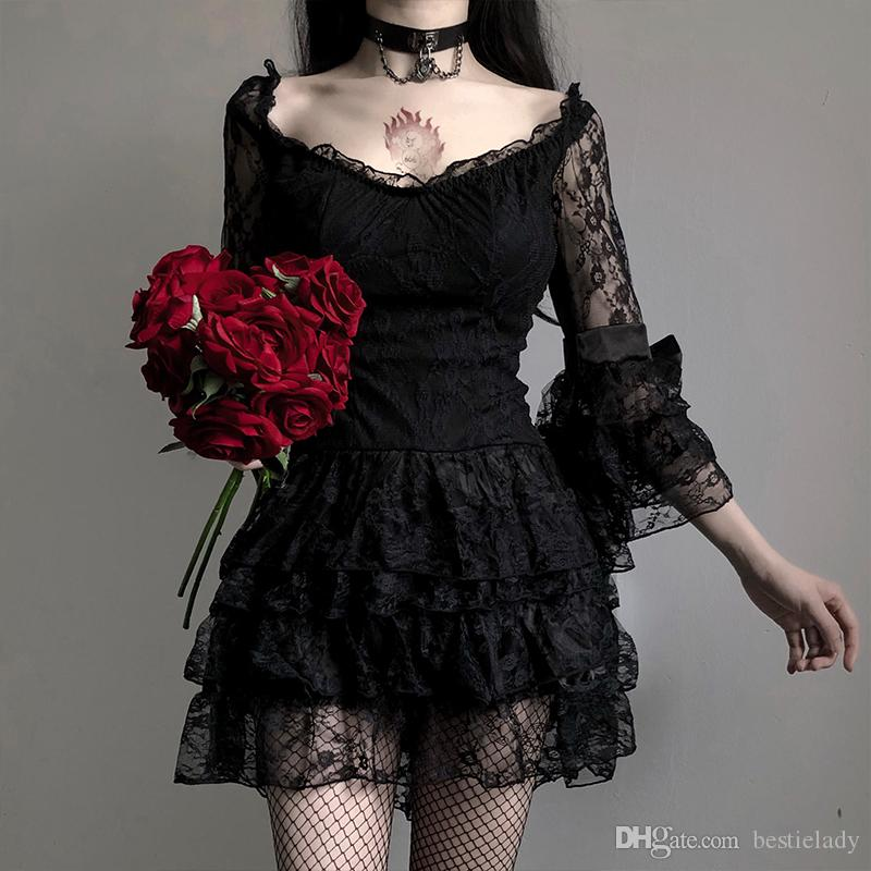 Dark Queen Sweet Floral Lace & Mesh Flare Dress