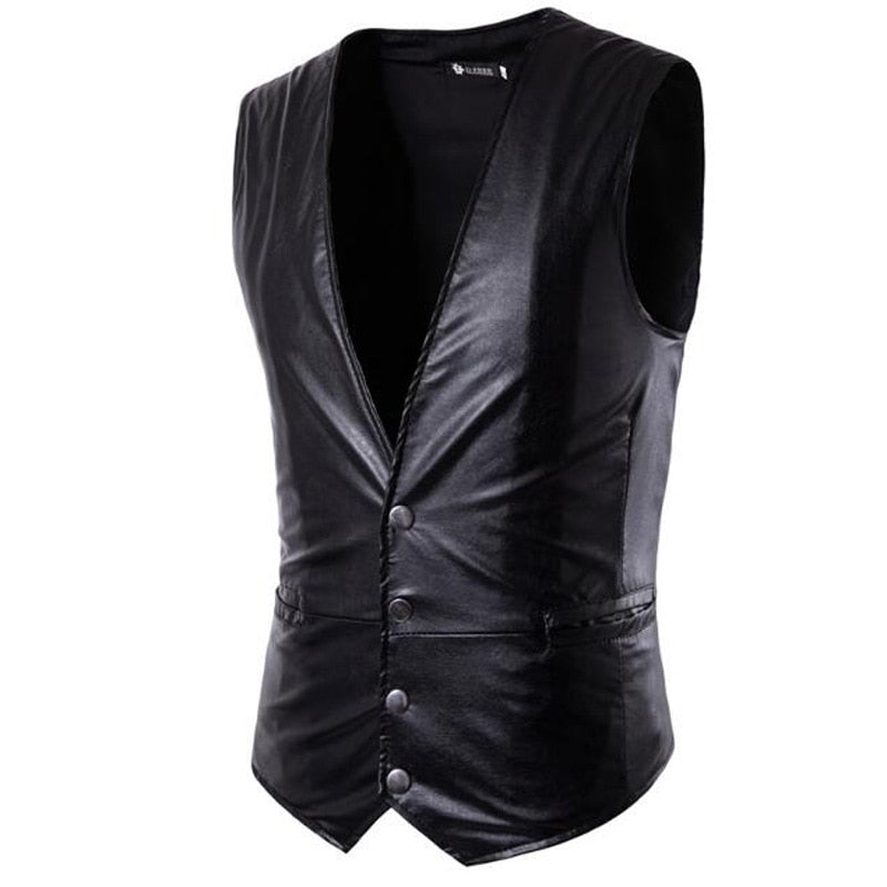 New Men's PU Leather Vest - 4LAUNT.COM