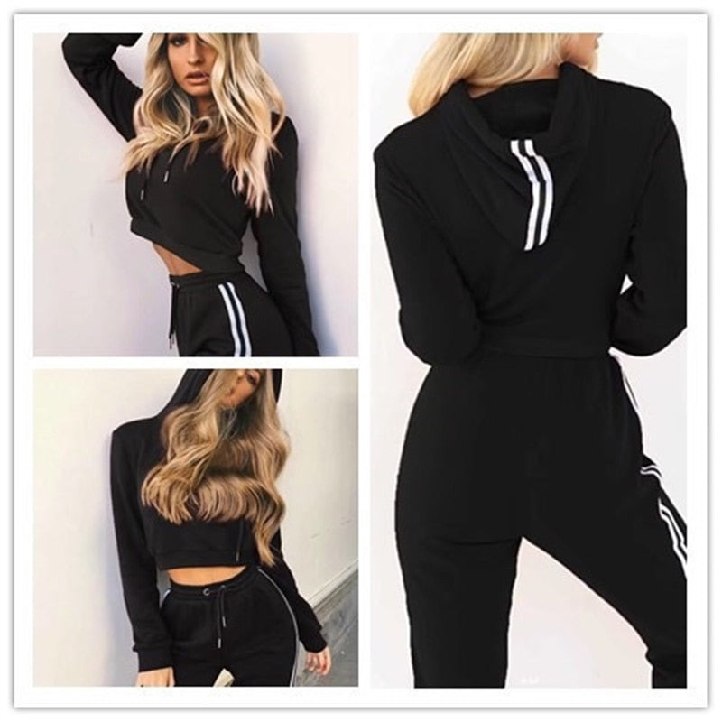 2019 Woman's Hooded Crop Top Tracksuit Set - 4LAUNT.COM