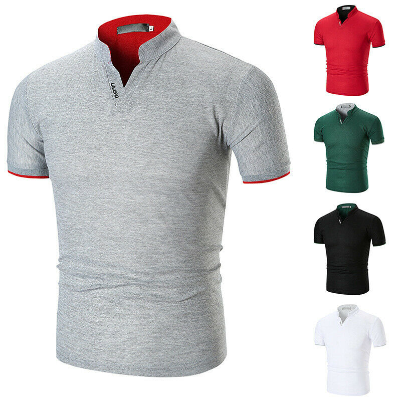 Men's Solid Cotton Slim Fit Short Sleeve V-Neck Golfers - 4LAUNT.COM