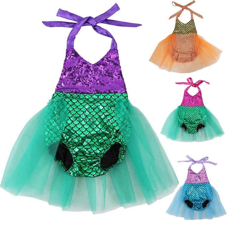 Baby Girls Sequins Tutu Summer Mermaid Romper - 4LAUNT.COM