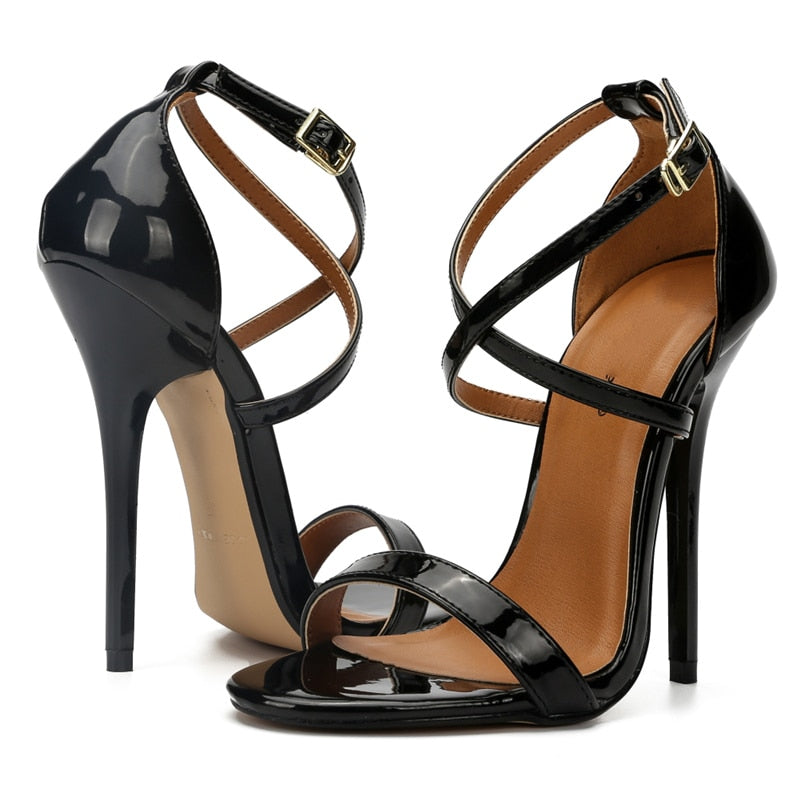 High Heel Fetish Cross Strap Women's Sandals - 4LAUNT.COM