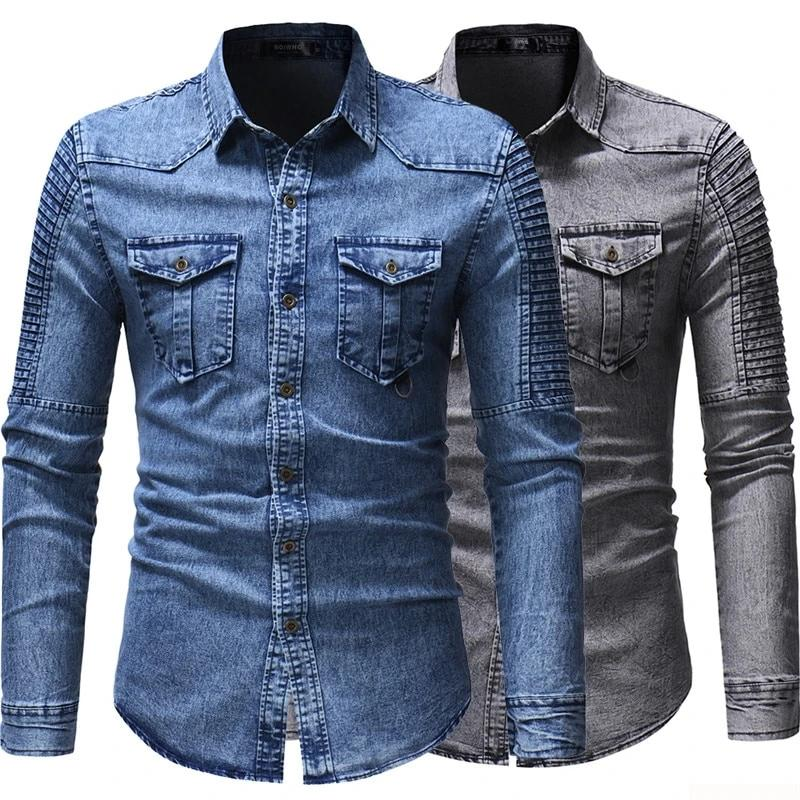 Men's Slim Fit Armour Denim Shirt - 4LAUNT.COM