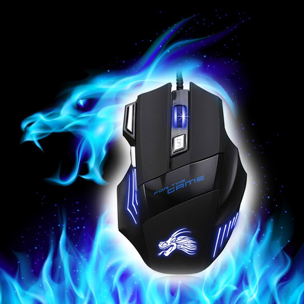 5500 DPI Optical LED Lighting Pro USB Wired Gaming Mouse - 4LAUNT.COM