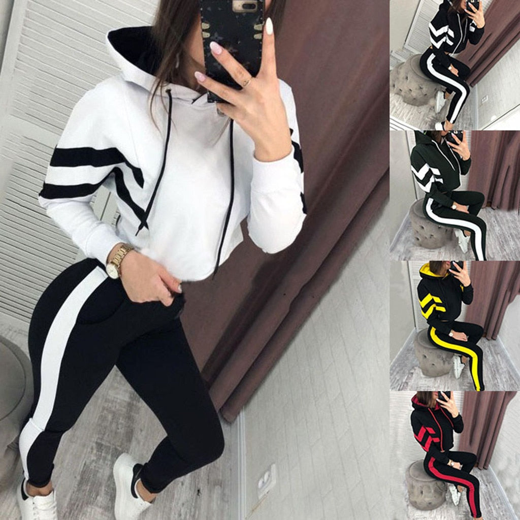 Lady's Cropped Pullover Sweatshirt and Pants Tracksuit Set - 4LAUNT.COM