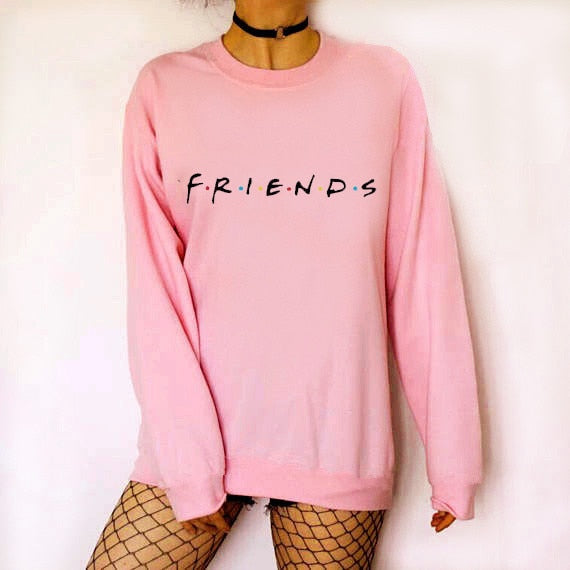 FRIENDS Loose Long Sleeve Women Casual Pullovers
