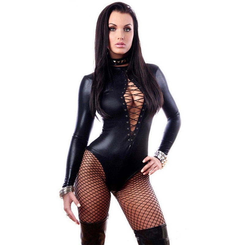 Woman's Pu Leather Bodysuit